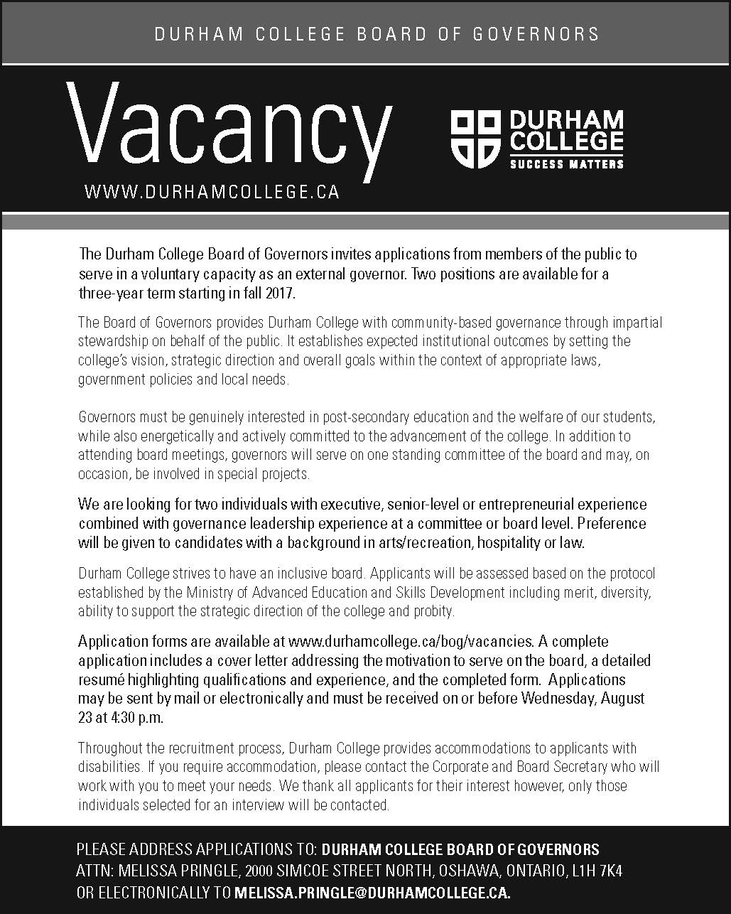 Durham College Board of Governors looking for interested applicants